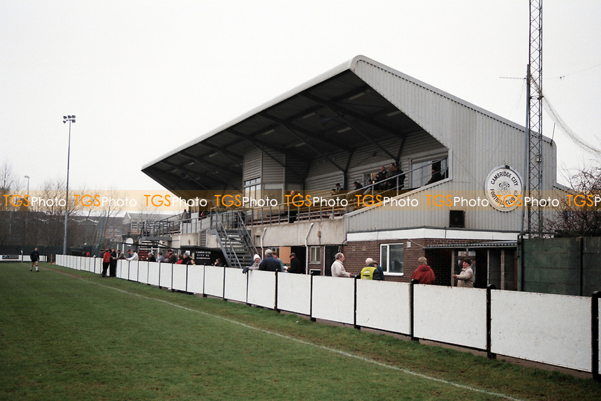 The main stand at Cambridge City FC Football Ground, Milton Road, Cambridge, pictured on 20th January 1996