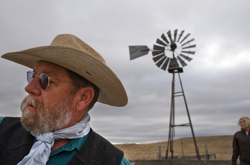 Rancher Larry Cundle, with wife Ruthie, in a pasture on their ranch near Glendo, Wyo., Tuesday, Nov. 11, 2008. Wind energy companies have been scrambling across Wyoming's notoriously windy eastern plains hoping to sign up ranchers for access to install trubines for electricity generation. Many of the ranchers are uncharacteristically banding together to negotiate for better prices for the access. (Kevin Moloney for the New York Times)