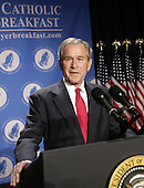 United States President George W. Bush makes remarks at the National Catholic Prayer Breakfast in Washington, D.C. on April 18, 2008.<br /> Credit: Yuri Gripas / Pool via CNP