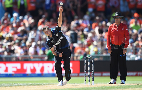 08.03.2015. Napier, New Zealand.  Trent Boult bowling during the ICC Cricket World Cup match between New Zealand and Afghanistan at McLean Park in Napier, New Zealand. Sunday 8 March 2015.