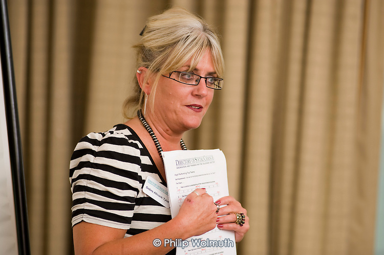 Debra Allcock Tyler, Directory of Social Change Chief Executive, gives a seminar at the organisation's  ChartyFair 2010, , Hilton Metropole Hotel, London.