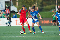 Boston, MA - Sunday September 10, 2017: Christine Sinclair, Brooke Elby during a regular season National Women's Soccer League (NWSL) match between the Boston Breakers and Portland Thorns FC at Jordan Field.