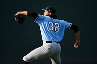 Starting pitcher Tyler Phillips (32) of the Hickory Crawdads warms up before a game against the Greenville Drive on Monday, August 20, 2018, at Fluor Field at the West End in Greenville, South Carolina. Hickory won, 11-2. (Tom Priddy/Four Seam Images)
