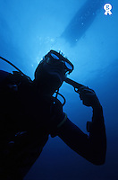Diver holding gun to head, underwater, low angle view (Licence this image exclusively with Getty: http://www.gettyimages.com/detail/sb10068805ad-001 )