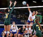 BROOKINGS, SD - SEPTEMBER 30:  Emily Minnick #3 from North Dakota State tries for the block on Emily Veldman #12 from South Dakota State in the first game of their match Tuesday night at Frost Arena in Brookings. (Photo/Dave Eggen/Inertia)