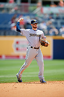 New Orleans Baby Cakes shortstop J.T. Riddle (10) throws during a game against the Nashville Sounds on May 1, 2017 at First Tennessee Park in Nashville, Tennessee.  Nashville defeated New Orleans 6-4.  (Mike Janes/Four Seam Images)