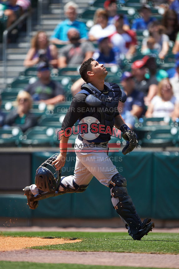 Scranton/Wilkes-Barre RailRiders catcher Gary Sanchez (35) tracks a foul ball during a game against the Buffalo Bisons on July 2, 2016 at Coca-Cola Field in Buffalo, New York.  Scranton defeated Buffalo 5-1.  (Mike Janes/Four Seam Images)