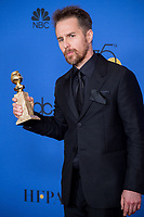 After winning the category of BEST PERFORMANCE BY AN ACTOR IN A SUPPORTING ROLE IN A MOTION PICTURE for his work in &quot;Three Billboards Outside Ebbing, Missouri,&quot; actor Sam Rockwell poses backstage in the press room with his Golden Globe Award at the 75th Annual Golden Globe Awards at the Beverly Hilton in Beverly Hills, CA on Sunday, January 7, 2018.<br /> *Editorial Use Only*<br /> CAP/PLF/HFPA<br /> &copy;HFPA/PLF/Capital Pictures