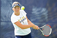18 March 2012:  FIU's Rita Maisak returns the ball during her doubles match against Columbia's Bianca Sanon and Tiana Takenaga as the Columbia Lions defeated the FIU Golden Panthers, 5-2, at University Park in Miami, Florida.