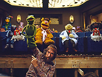 Jim Henson with Kermit and the cast of The Muppet Movie, CBS studios, Los Angeles, 1978. Photo by John G. Zimmerman.