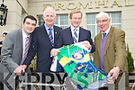 Enda Kenny was presented with the Ring of Kerry Cycling Kersey during his visit to Killarney on Friday from left, Brendan Griffin, Cathal Walsh, Enda Kenny and  Tim O'Brien.