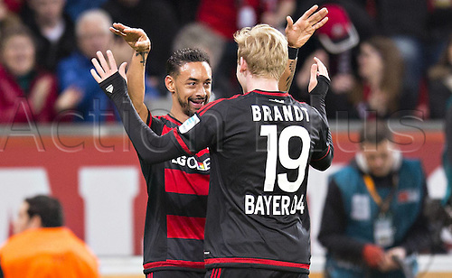 01.04.2016. Leverkusen, Germay. Bundesliga football. Bayer Leverkusen versus VFL Wolfsburg in the BayArena in Leverkusen.  Karim Bellarabi (Bayer) celebrates with Julian Brandt (Bayer)