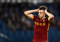 Calcio, Serie A: Roma vs Sampdoria. Roma, stadio Olimpico, 7 febbraio 2016.<br /> Roma&rsquo;s Stephan El Shaarawy reacts after missing a scoring chance during the Italian Serie A football match between Roma and Sampdoria at Rome's Olympic stadium, 7 January 2016.<br /> UPDATE IMAGES PRESS/Riccardo De Luca