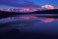 Landscape of Mount McKinley reflected on Wonder Lake. Denali National Park, Alaska.