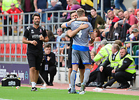 Lincoln City's Michael O'Connor is hugged by Lincoln City's assistant manager Nicky Cowley after being substituted<br /> <br /> Photographer Chris Vaughan/CameraSport<br /> <br /> The EFL Sky Bet Championship - Rotherham United v Lincoln City - Saturday 10th August 2019 - New York Stadium - Rotherham<br /> <br /> World Copyright © 2019 CameraSport. All rights reserved. 43 Linden Ave. Countesthorpe. Leicester. England. LE8 5PG - Tel: +44 (0) 116 277 4147 - admin@camerasport.com - www.camerasport.com