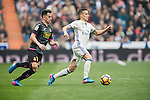 Lucas Vazquez of Real Madrid fights for the ball with Jose Manuel Jurado Marin of RCD Espanyol during the match Real Madrid vs RCD Espanyol, a La Liga match at the Santiago Bernabeu Stadium on 18 February 2017 in Madrid, Spain. Photo by Diego Gonzalez Souto / Power Sport Images