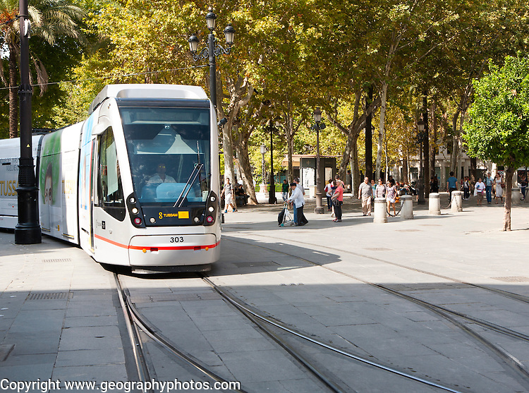 Modern Metro-Centro tram transport system in the historic centre of Seville, Spain