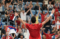 11th January 2020; Sydney Olympic Park Tennis Centre, Sydney, New South Wales, Australia; ATP Cup Australia, Sydney, Day 9; Serbia versus Russia;  Novak Djokovic versus Daniil Medvedev; Novak Djokovic of Serbia reacts after winning a key point in his match against Daniil Medvedev of Russia - Editorial Use