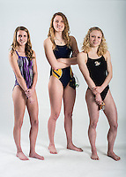 NWA Democrat-Gazette/ANTHONY REYES • @NWATONYR<br /> Lindsey Rissinger (left) of Fayetteville is this years diver of the year and Luciana Thomas of Haas Hall and Taylor Pike of Bentonville are co-swimmers of the year. Photographed Wednesday, March 16, 2016 in Springdale.