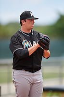 GCL Marlins relief pitcher Bryce Howe (55) warms up in the bullpen during the second game of a doubleheader against the GCL Nationals on July 23, 2017 at Roger Dean Stadium Complex in Jupiter, Florida.  GCL Nationals defeated the GCL Marlins 1-0.  (Mike Janes/Four Seam Images)