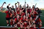 The Canterbury team celebrate winning the National Women's Association Under-18 Hockey Tournament final between Canterbury and Waikato at Twin Turfs in Clareville, New Zealand on Saturday, 15 July 2017. Photo: Dave Lintott / lintottphoto.co.nz