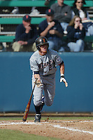 Justin Turner of the Cal State Fullerton Titans bats during a 2004 season game against the Loyola Marymount Lions at Loyola Marymount in Los Angeles, California. (Larry Goren/Four Seam Images)
