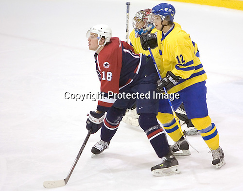 Shawn Weller (Clarkson University - Ottawa Senators), Mattias Modig (Lulea HF), Tommy Wargh (MODO Hockey) The US Blue team defeated Sweden 8-2 in the NHL Rink at Lake Placid, NY on August 10, 2005 as part of the National Junior (U-20) Evaluation Camp and Summer Challenge.