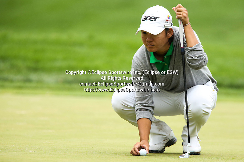 Taiwanese Yani Tseng looks over the eighth hole at the LPGA Championship at Locust Hill Country Club in Pittsford, NY on June 7, 2013