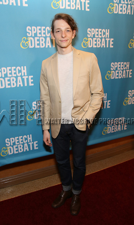 Mike Faist attends Broadway Red Carpet Premiere of 'Speech & Debate'  at the American Airlines Theatre on April 2, 2017 in New York City.