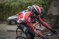 Kris Boeckmans (BEL/Lotto-Soudal) enjoying the cobbles on the Chemin de Wih&eacute;ries (Honelles)<br /> <br /> GP Le Samyn 2017 (1.1)