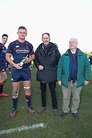 Man of the match, Rory Bartle of London Scottish, receives the man of the match award following the Greene King IPA Championship match between London Scottish Football Club and Jersey at Richmond Athletic Ground, Richmond, United Kingdom on 18 February 2017. Photo by David Horn / PRiME Media Images.