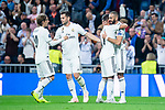 Real Madrid Luka Modric, Nacho Fernandez, Lucas Vazquez and Karim Benzema celebrating a goal during UEFA Champions League match between Real Madrid and FC Viktoria Plzen at Santiago Bernabeu Stadium in Madrid, Spain. October 23, 2018. (ALTERPHOTOS/Borja B.Hojas)