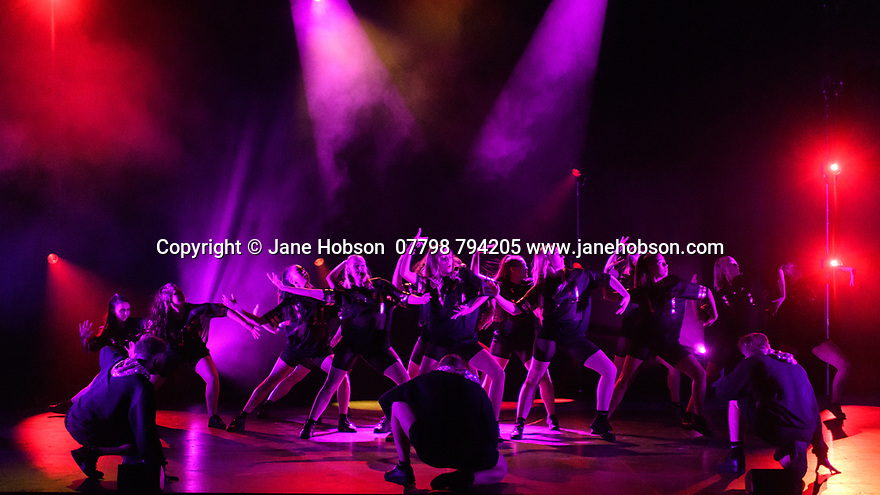 """Bromley, Kent, UK. 27.06.2018. D&B Academy of Performing Arts presents their graduation showcase 2018, at the Churchill Theatre, Bromley, Kent. Picture shows: """"Good Girl Gone Bad"""", choreographed by Kirsten Wheeler. Photograph © Jane Hobson."""