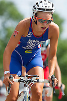 28 JUL 2013 - LONDON, GBR - Emma Pallant on the bike during the Elite Women's race at the 2013 Virgin Active London Triathlon around Excel, Royal Victoria Dock, London, Great Britain (PHOTO COPYRIGHT © 2013 NIGEL FARROW, ALL RIGHTS RESERVED)