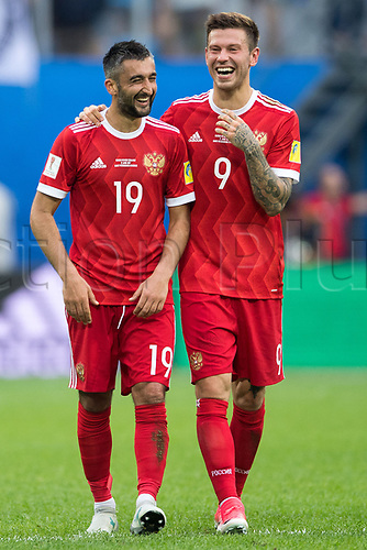 17th June 2017, St Petersburg, Russia; FIFA 2017 Confederations Cup football, Russia versus New Zealand; Group A - Saint Petersburg Stadium,  Russia's Alexander Samedov (l) and Fedor Smolov happy after the Confederations Cup Group A soccer match between Russia and New Zealand at the stadium in Saint Petersburg, Russia, 17 June 2017.