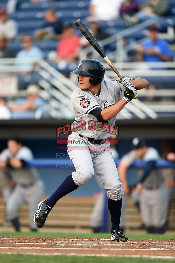 Staten Island Yankees second baseman Ty McFarland (14) at bat during a game against the Batavia Muckdogs on August 7, 2014 at Dwyer Stadium in Batavia, New York.  Staten Island defeated Batavia 2-1.  (Mike Janes/Four Seam Images)