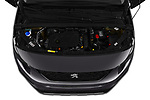 Car stock 2019 Peugeot Rifter GT-Line 5 Door MPV engine high angle detail view