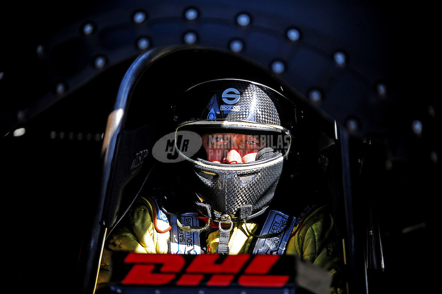 Jul. 17, 2010; Sonoma, CA, USA; NHRA funny car driver Jeff Arend during qualifying for the Fram Autolite Nationals at Infineon Raceway. Mandatory Credit: Mark J. Rebilas-