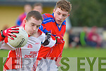 Cathal O Bambaire (Pobalscoil Chorca, Dhuibhne) in Action with Brendan Foley (KIC) on Wednesday in the Bruin Cup at Austin Stack GAA Grounds, Connolly Park, Tralee.
