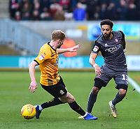 Lincoln City's Bruno Andrade vies for possession with  Cambridge United's Brad Halliday<br /> <br /> Photographer Andrew Vaughan/CameraSport<br /> <br /> The EFL Sky Bet League Two - Cambridge United v Lincoln City - Saturday 29th December 2018  - Abbey Stadium - Cambridge<br /> <br /> World Copyright © 2018 CameraSport. All rights reserved. 43 Linden Ave. Countesthorpe. Leicester. England. LE8 5PG - Tel: +44 (0) 116 277 4147 - admin@camerasport.com - www.camerasport.com