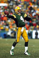 "Green Bay Packers quarterback Brett Favre threw for 292 yards and two touchdowns in the NFC Championship game against the Carolina Panthers on January 12, 1997 as the Pack cruised to a 30-13 win at Lambeau Field. This was the first title game in Green Bay since the ""Ice Bowl"" in 1967."