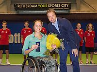 December 21, 2014, Rotterdam, Topsport Centrum, Lotto NK Tennis, Lady's wheelchair final, Runner up  Jiske Griffioenwith KNLTB director Erik Poel<br /> Photo: Tennisimages/Henk Koster