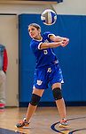 27 October 2013: Yeshiva University Maccabee Setter Shaina Hourizadeh, a Freshman from Englewood, NJ, in action against the College of Mount Saint Vincent Dolphins at the College of Mount Saint Vincent in Riverdale, NY. The Dolphins defeated the Maccabees 3-0 in NCAA women's volleyball play. Mandatory Credit: Ed Wolfstein Photo *** RAW (NEF) Image File Available ***