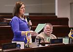 Nevada Sen. Pete Goicoecheae, R-Eureka, right, listens as Sen. Becky Harris, R-Las Vegas, speaks on the Senate floor at the Legislative Building, in Carson City, Nev., on Friday, Feb. 20, 2015. <br /> Photo by Cathleen Allison