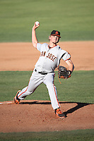 Phil Bickford (55) of the San Jose Giants pitches against the Lancaster JetHawks during the first game of a doubleheader at The Hanger on July 14, 2016 in Lancaster, California. Lancaster defeated San Jose, 3-0. (Larry Goren/Four Seam Images)