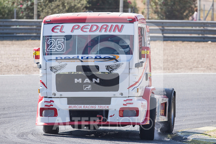 Spanish driver David Marco Bermejo belonging Spanish team David Marco Bermejo during the super pole SP1 of the XXX Spain GP Camion of the FIA European Truck Racing Championship 2016 in Madrid. October 01, 2016. (ALTERPHOTOS/Rodrigo Jimenez)