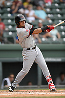 First baseman Elio Castillo (24) of the Hickory Crawdads bats in a game against the Greenville Drive on Sunday, July 16, 2017, at Fluor Field at the West End in Greenville, South Carolina. Hickory won, 3-1. (Tom Priddy/Four Seam Images)
