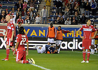 Chivas forward Maicon Santos celebrates with a teammate after scoring the game tying goal for the Chivas in the second half.  The Chicago Fire tied Chivas USA 1-1 at Toyota Park in Bridgeview, IL on May 1, 2010.