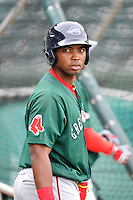 Kyri Washington (21) of the Greenville Drive in a team workout on Wednesday, April 6, 2016, at Fluor Field at the West End in Greenville, South Carolina. (Tom Priddy/Four Seam Images)
