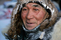 Thursday  March 15, 2007   ---- Nome, Alaska.  Effects of frostbite show on Louis Nelson Sr.s' face after his arrival in Nome in 24th  place.